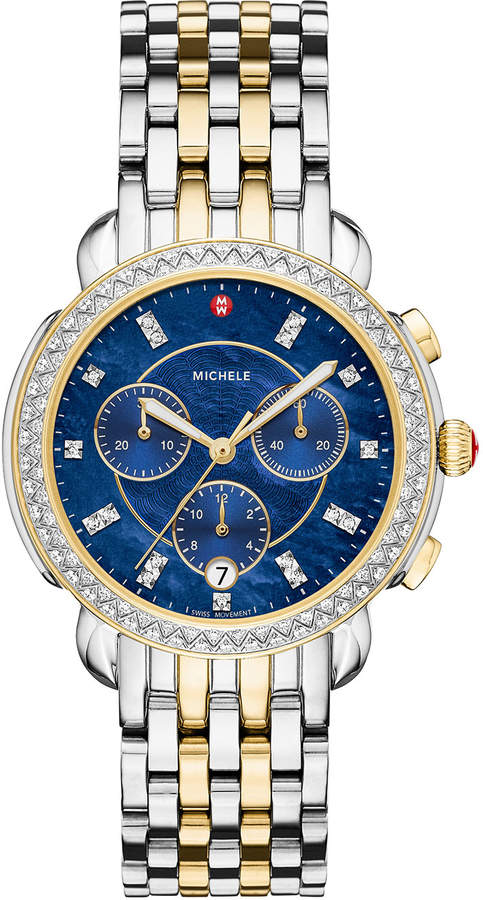 Michele 38mm Sidney Diamond Chronograph Two-Tone Watch
