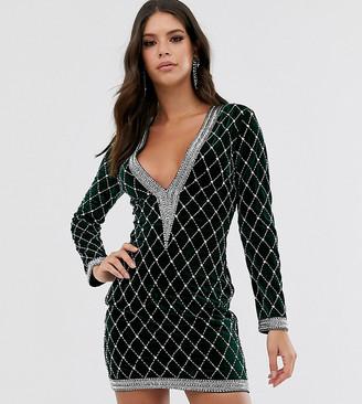 Asos DESIGN Tall long sleeve velvet embellished plunge mini dress