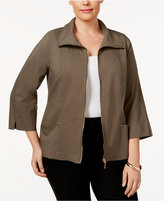 JM Collection Plus Size Zip-Front Blazer, Only at Macy's