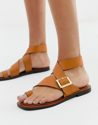 Office Serenity tan leather flat toe loop sandals