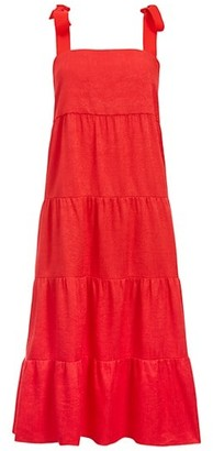 Alice + Olivia Cynthia Tiered Tie-Strap Midi Dress
