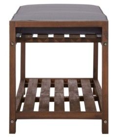 """Walker Edison 48"""" Patio Wood Bench With Cushion"""