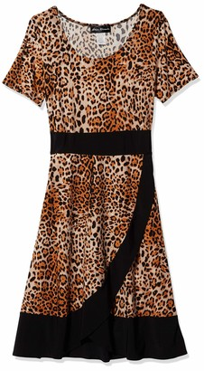 Star Vixen Women's Short Sleeve Colorblock Outline Dress with Faux Wrap Tulip Skirt