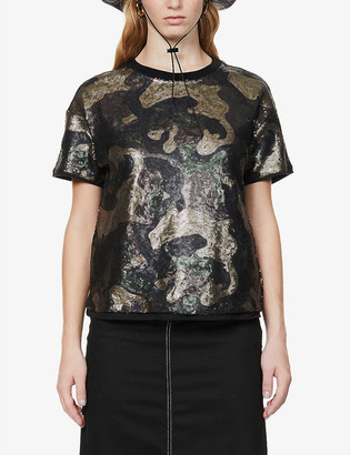 Benetton Camouflage-patterned sequin-embellished woven T-shirt