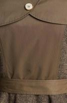 Steve Madden Tweed Panel Peplum Trench Coat