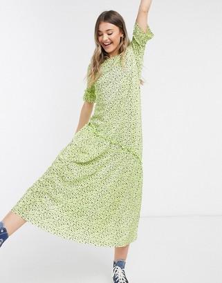 ASOS DESIGN plisse maxi dress with asym hem in floral print