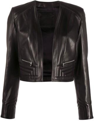 Philipp Plein Collarless Cropped Jacket