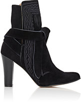 Ulla Johnson Women's Embroidered Ankle Boots-BLACK