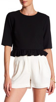 Nicole Miller 3/4 Length Sleeve Ruffle Hem Shirt