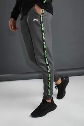 BoohoomanBoohooMAN Mens Grey MAN Joggers With Tape Detail, Grey