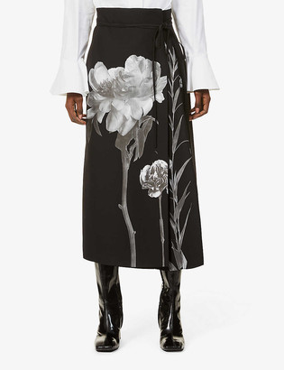 Valentino Floral-print high-waist wool and silk-blend maxi skirt