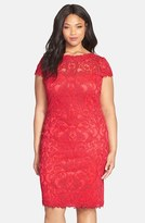 Tadashi Shoji Plus Size Women's Cap Sleeve Lace Sheath Dress