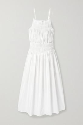 Three Graces London Dia Shirred Cotton-poplin Midi Dress - White