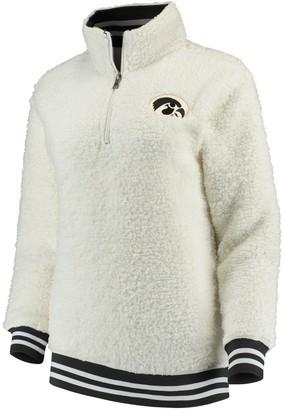 Unbranded Women's White Iowa Hawkeyes Varsity Banded Sherpa Quarter-Zip Pullover Jacket
