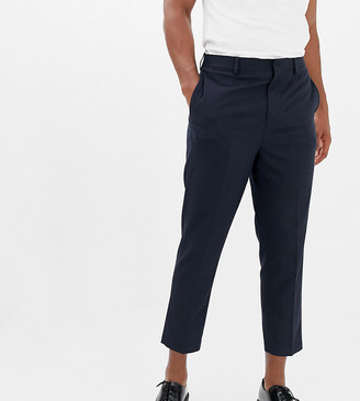 Noak drop crotch tapered cropped smart trouser in navy