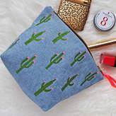 paperCutts designs Embroidered Cactus Denim Make Up Bag