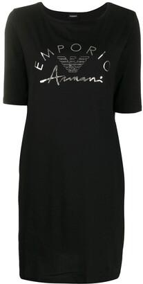 Emporio Armani logo-print crew neck dress