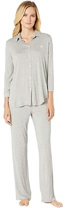 Lauren Ralph Lauren His Shirt Long Pajama Set (Grey Dot) Women's Pajama Sets