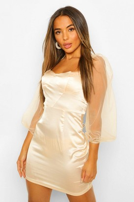 boohoo Petite Volume Sleeve Satin Corset Bodycon Dress