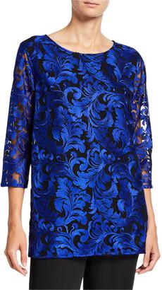 Caroline Rose Flourish Embroidery 3/4-Sleeve Lined Tunic