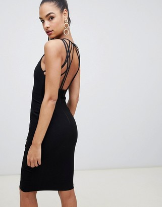 Vesper strappy back midi dress in black