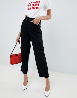 Selected mom jeans in black