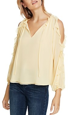 1 STATE Ruffled Cold-Shoulder Top