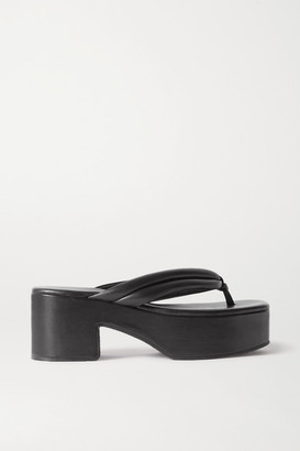Dries Van Noten Leather Platform Flip Flops - Black