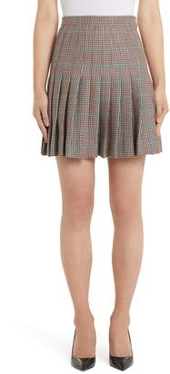 Off-White Check Pleated Wool Miniskirt