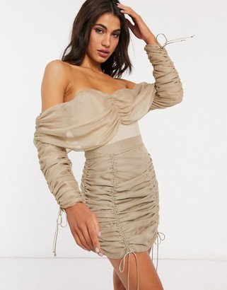 Asos DESIGN off shoulder top co-ord with ruching in stone