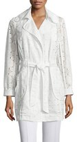 Trina Turk Long-Sleeve Lace Belted Coat, Whitewash