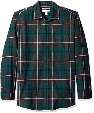 Amazon Essentials Men's Regular-Fit Long-Sleeve Plaid Flannel Shirt, Red/Grey Plaid, Medium