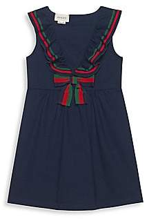 Gucci Little Girl's & Girl's Sleeveless Cotton Piqué Dress with Bow