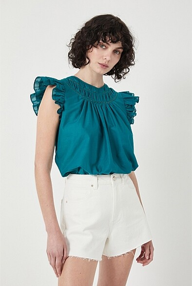 Thumbnail for your product : Witchery Lace Trim Flutter Sleeve Blouse