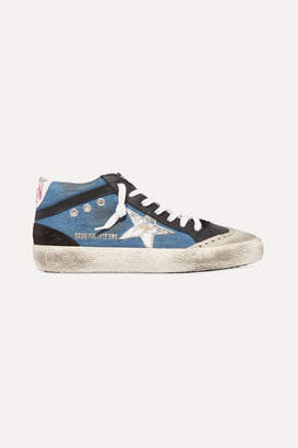 Golden Goose Superstar Distressed Denim, Leather And Suede Sneakers - White