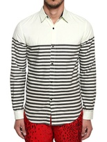 Opening Ceremony Striped Printed Cotton Chambray Shirt