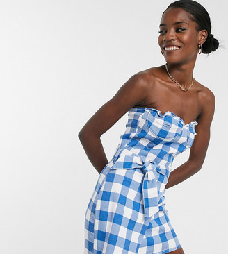 One Above Another structured denim mini dress with cup detail in blue gingham