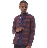 Farah Mens Hansen Check Long Sleeve Slim Fit Shirt Red