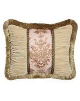 "Sweet Dreams Alessandra Pillow with Ruched Velvet Sides & Brush Fringe, 16"" x 21"""