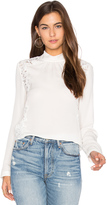 Rebecca Taylor Long Sleeve Georgette & Lace Top