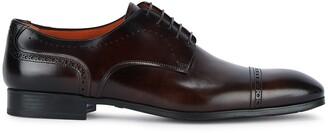 Santoni Brown Leather Oxford Shoes