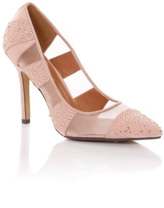 Little Mistress Footwear Nude Mesh Diamante Pointed Court Shoe
