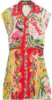 Anna Sui Florida Pleated Printed Voile Mini Dress