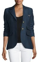 Smythe Dandy Two-Button Blazer w/Leather Elbow Patches, Navy