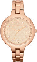 Liz Claiborne Womens Rose-Tone Quilted Watch