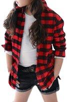 uxcell® Girls Checks Long Sleeves Split Sides Shirt Allegra Kids Black