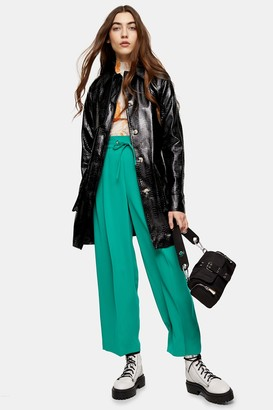Topshop Womens Tall Black Faux Leather Crocodile Shacket - Black