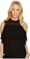 Rebecca Taylor Short Sleeve Open Shoulder Eyelet Top Women's Clothing