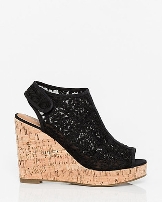 Le Château Lace & Canvas Wedge Slingback
