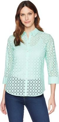 Foxcroft Women's Ava Geo-Eyelet Shirt